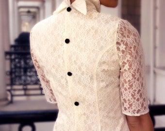 Short wedding dress, Back button dress, Simple wedding dress, French wedding dress, Short lace dress, Casual wedding dress, Hand made