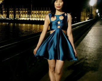 Cut Out Teal Blue Silk Party Dress