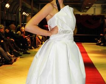 Pleated White Silk Short Wedding Dress