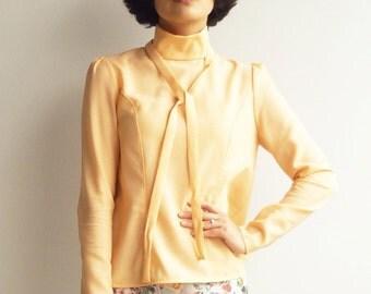 Coral Peach, Long Sleeved Blouse, Boho top,Wool top, Minimalist top, Handmade