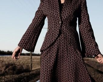 Shimmery Pink Leopard Women Wool Suit - New York