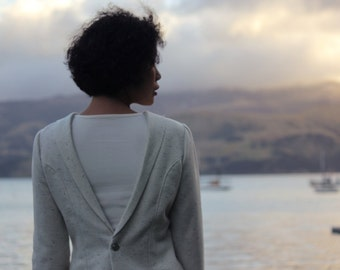 Women winter jacket, Women wool jacket, Women white jacket, Back button jacket, Unique Jacket, Hand made