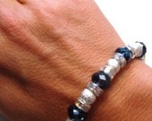 Shimmery Light Blue Crystals and Stardust Beads with AB Crystal Rondelles Bracelet and Ring (One Size Fits All)