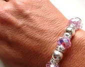 Sparkly Iridescent Pink Crystals with Silver Beads and Clear Crystal Rondelles