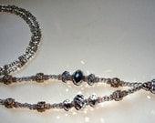 Beautiful Silver Bead and Crystal ID Lanyard
