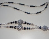 Sparkly Silver/Navy Bead and Crystal ID Lanyard