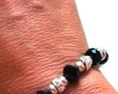 Classy Black Crystal and Clear Crystal Rondelle Bracelet and Ring (One Size Fits All)