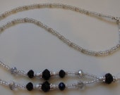Classy Silver/Black Crystal and Stardust Bead ID Lanyard