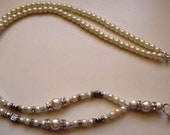 Classy Pearl and Silver Stardust Bead ID Lanyard
