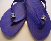 3 Swarovski Crystal Pave Rings Havaiana Women's Flip Flop Ice Violet