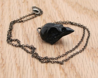 sparrow skull necklace - black on gunmetal