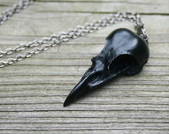 bird skull necklace - mini magpie - onyx black on gunmetal