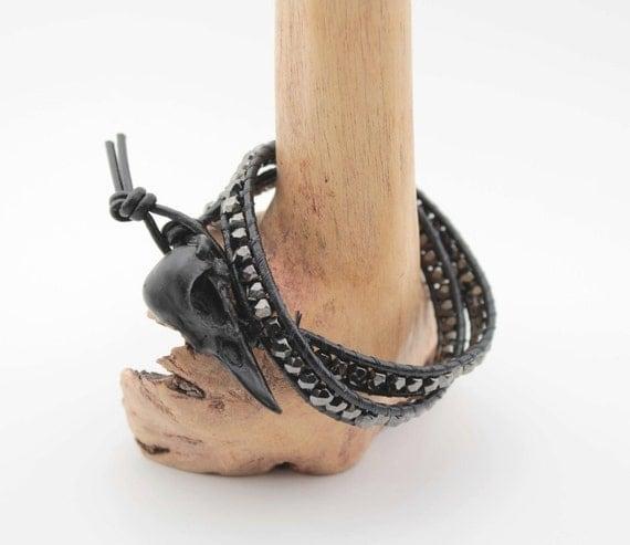 bird skull beaded wrap bracelet - black leather, gunmetal beads
