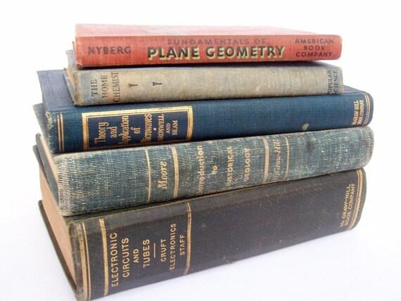Vintage Math Science Textbooks Set of 5