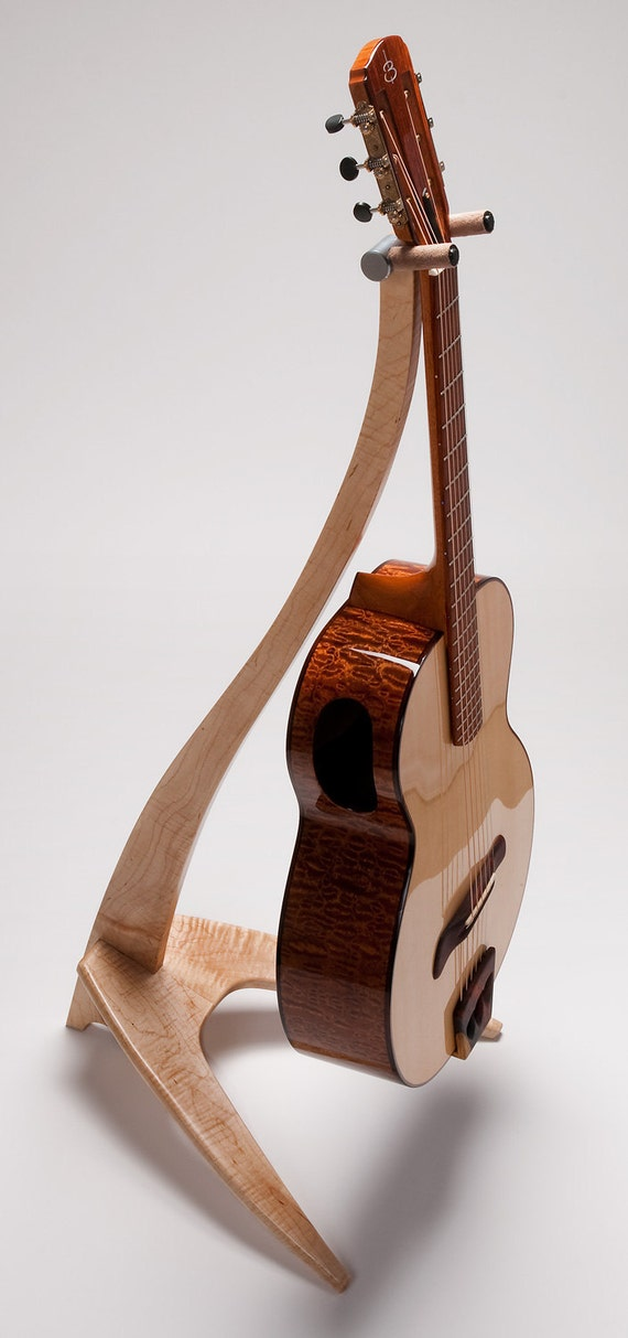 Handcrafted Custom WM Guitar Stand Curly Maple