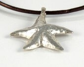 Starfish Sterling Silver Necklace, Sea Star Necklace, Gift for Teens, Star Fish Pendant on Leather Cord, Ocean Jewelry