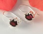 Garnet Earrings Sterling Silver , Red Garnet Jewelry Gift For Her , Gemstone Silver Earrings Round Faceted Garnet Earrings Gift For Her