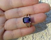 Amethyst Engagement Ring , Amethyst Sterling Silver Ring Split Band Ring , Emerald Cut Ring February birthstone , Purple Amethyst Ring
