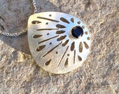 Sterling Silver Necklace with Blue Iolite , Elegant Necklace , Silver Pendant , Dark Blue Gemstone Gifts For Her , Lace Silver Necklace