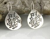 Floral Silver Earrings, Sterling Silver Earrings, Tiny Flowers Earrings, Miniature Flowers Earrings Gifts For Her, Medium Drop Earrings