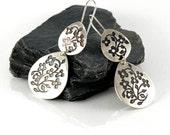 Tear Drop Earrings , Miniature Flowers Earrings, Sterling Silver Dangle Earrings, Silver Flowers Earrings, Floral jewelry, Oxidized Earrings