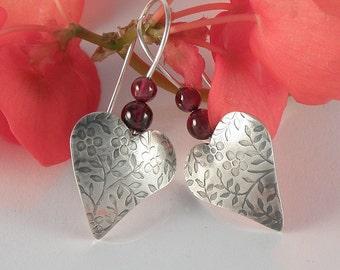 Silver Heart Earrings, Valentine Gift For Women Red Garnet Earrings Sterling Silver Earrings, Floral Heart jewelry Romantic Gift for Teens