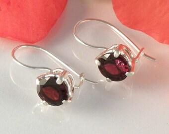 Garnet Earrings Sterling Silver, Red Garnet Jewelry Gift For Her, January Birthstone, Round Faceted Garnet Earrings - MADE TO ORDER