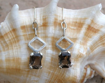 Rhombus Earrings, Smoky Quartz Sterling Silver Earrings, Faceted Brown Smoky Quartz Earrings Gifts For Mom, Dangle Silver Earrings