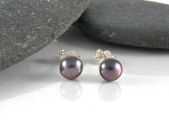 Peacock Pearl Post Earrings, Sterling Silver Stud Earrings, Metallic Gray Pearl Earrings Teens Earrings,  Pearl Studs