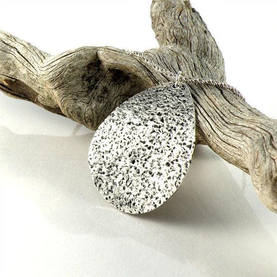 Silver Cactus Necklace, Rustic Cactus Leaf Pendant, Sterling Silver Cactus Leaf Necklace, Oxidized Tear Drop Pendant