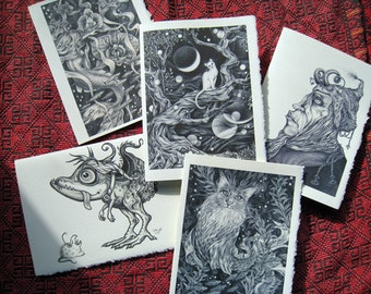 Greeting Cards - fantasy cats dragon mermaid garden flowers