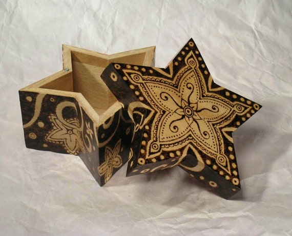 Star Box, pyrography