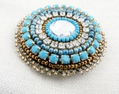 Romantic Bead Embroidered Blue and Brown  Brooch. Anastasia.