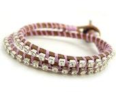 Boho Rhinestone Double Wrap Leather Bracelet.  Crystal and Lavender.