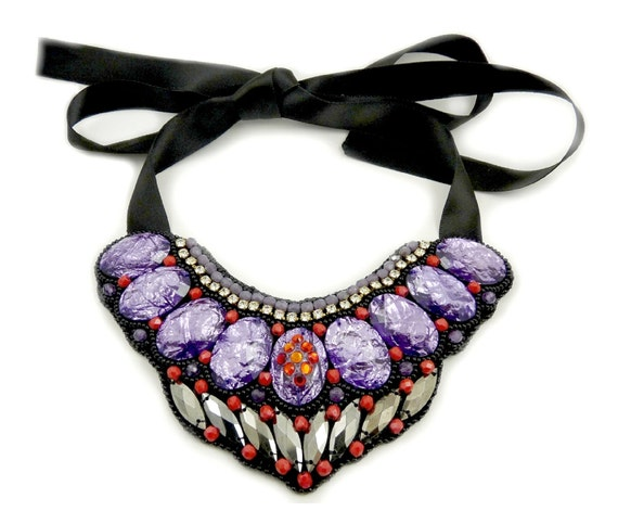 RESERVED FOR GAIL . Galaxy - One of a Kind  Bead Embroidered Purple Amethyst Bib Necklace