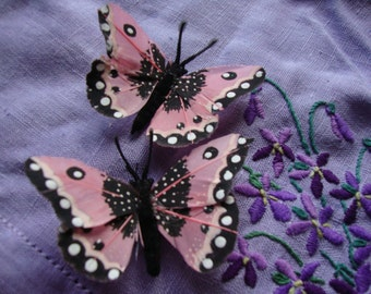 pale pink feather butterfly hairclips