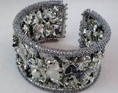 silver and black freeform beaded bangle cuff