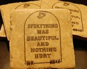 Everything Was Beautiful Vonnegut Vintage Inspired Tile Coasters (Set of 4)