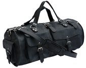 Made in USA Rustic Leather Black Distressed, Rugged Duffel Bag Carry On