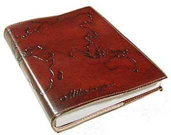 Leather Refillable World Journal with all natural cotton recycled paper