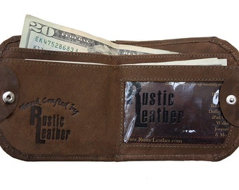 Leather Cab Wallet, Classic Design - Rich Chocolate Brown