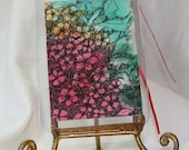 Watercolor ACEO red and green abstract floral gift tag with ribbon