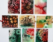 All occasion abstract flower gift tags with ribbon set of 9 digital prints red green gold floral landscape art tags