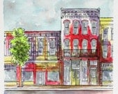 """Architectural Art Watercolor Pen and Ink 8"""" x 8""""  Red Abstract Indiana Streetscape Original Wall Art"""