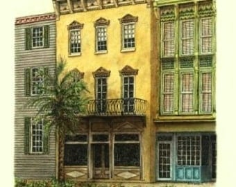 "Yellow Florida Architectural Art Pastel Pen and Ink Streetscape Original Wall Home Decor 10"" x 15"""