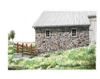 "Pennsylvania Stone Barn Architectural Art Pen and Ink with Watercolor Original Home Wall Decor 10"" x 7"" sfa"