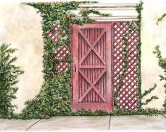 "Pastel with pen and ink Pink Garden Gate Original Home Wall Decor 12 x 9"" green ivy architectural art"