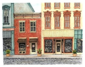 "Indiana Cityscape, Architectural Art, Pen and Ink with Pastel, Yellow Red Wall Home Decor 10.5"" x 8.25""  Original rural storefront art, sfa"