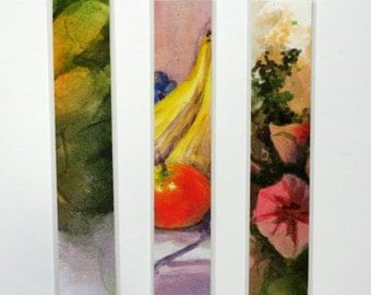 """Bookmark laminated watercolor with apples, bananas and flowers fruit original art 1.5"""" x 8"""" still life abstract"""