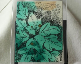 Green leaf watercolor aceo gift tag floral foliage with ribbon abstract original